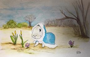 Illustration of Celeste, the rabbit in Lisa's book.
